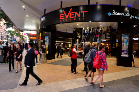 24 26: BRISBANE, AUS - SEP 24 2014:Myer Center at Queen Street Mall.It is a pedestrian mall with more than 700 retailers with six major shopping centres. It receives over 26 million visitors each year