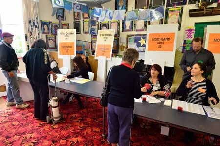 electioneering: MANGONUI, NZL -SEP 20 2014:New Zelanders voting for NZ 2014 General Election.The Electoral Commission said 717,579 people voted in advance of election day, more than double then Election in 2011.