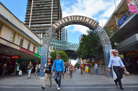 each year: BRISBANE, AUS - SEP 24 2014:Visitors at Queen Street Mall.It is a pedestrian mall with more than 700 retailers with six major shopping centres. It receives over 26 million visitors each year
