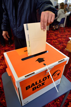 goverment: MANGONUI, NZL -SEP 20 2014:New Zelanders voting for NZ 2014 General Election.The Electoral Commission said 717,579 people voted in advance of election day, more than double then Election in 2011.
