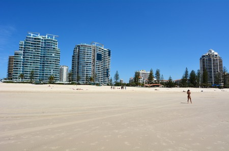 tourist destination: COOLANGATTA - OCT 07 2014:Visitors in Coolangatta beach.Coolangatta was one of the earliest settlements on the Gold Coast today its a very popular tourist destination in Australia.