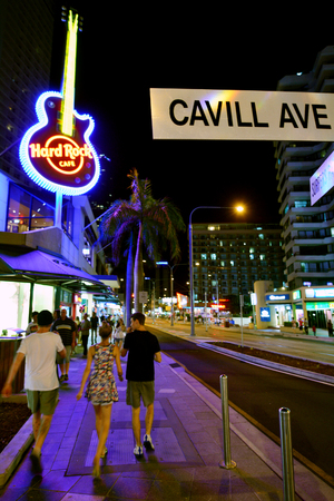 surfers: SURFERS PARADISE, AUS - OCT 28 2014:Nightlife on Cavill Avenue in Surfers Paradise Gold Coast Queensland Australia.  It is in the heart of the Surfers Paradise shopping and entertainment district.