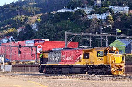 train engine: WELLINGTON - AUG 22 2014:KiwiRail train engine in Wellington, New Zealand.KiwiRail is the largest rail transport operator in New Zealand. Editorial