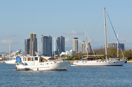 waterways: GOLD COAST - OCT 13 2014:Sail boats mooring at Broadwater. With nine times more waterways than Venice, the Gold Coast is a boating paradise with over 260 kilometers of navigable waterways within the Editorial