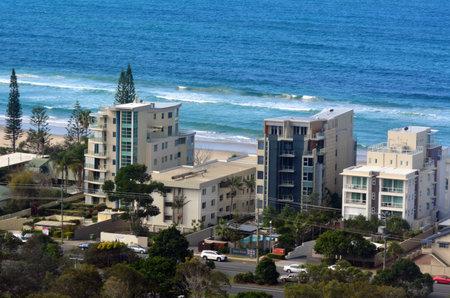 coolangatta: COOLANGATTA, AUS - SEP 23 2014: Aerial view of holiday apartments in Coolangatta.Its a popular tourist destination in the Gold Coast of Queensland Australia.