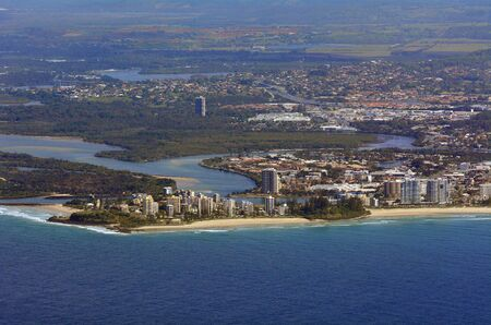 coolangatta: COOLANGATTA, AUS - SEP 23 2014: Aerial view of Coolangatta in Queensland Australia.Coolangatta is the southernmost suburb of Gold Coast City, Queensland, Australia. Editorial
