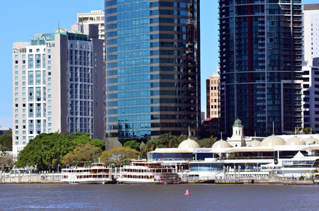 precinct: BRISBANE, AUS - SEP 25 2014:Eagle Street Pier.It is an iconic waterfront precinct with world class dining options and unrivalled views of the Brisbane River.