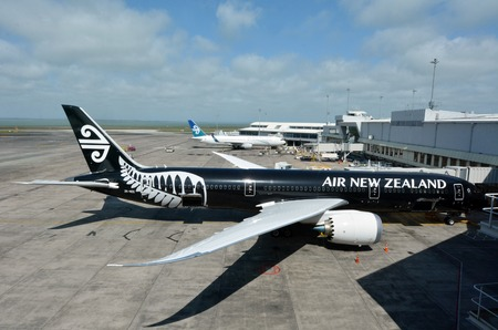 AUCKLAND - SEP 15:Air New Zealand planes in Auckland International Airport on Sep 15 2013.In 2001, Air New Zealand was re-nationalised under a New Zealand government NZ$885 million rescue plan. Editorial