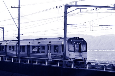 capita: WELLINGTON - AUG 22 2014:Metlink train.Around 35 million passenger trips are made by public transport in Wellington each year, it has the highest per capita use of public transport in New Zealand.
