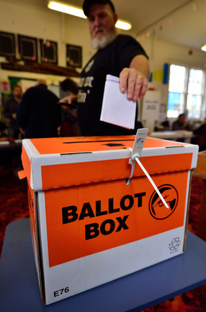 appoint: MANGONUI, NZL -SEP 20 2014:New Zelanders voting for NZ 2014 General Election.The Electoral Commission said 717,579 people voted in advance of election day, more than double then Election in 2011.