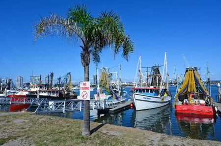 fishingboat: GOLD COAST, AUS - OCT 13 2014:Fishing trawlers mooring at Gold Coast Fishermens Co-Operative.Since 2008 the Gold Coast fishermen selling their catch direct to the public from the boat at low price.