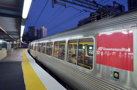 BRISBANE, AUS - SEP 23 2014:Passengers in Queensland Rail train car.Queensland Rail have 48.5 million customer journeys on the City network (south-east Queensland) per year Editorial