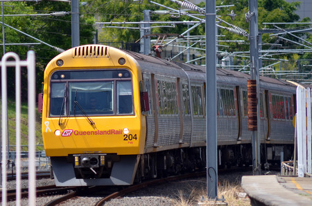 goldcoast: BRISBANE, AUS - SEP 26 2014: Queensland Rail train.Queensland Rail have 48.5 million customer journeys on the City network (south-east Queensland) per year
