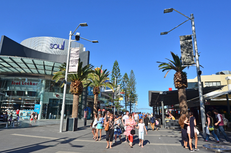 surfers paradise: SURFERS PARADISE - SEP 30 2014:Visitors in Surfers Paradise.It one of Australias iconic coastal tourist destinations, drawing about 10 million tourists every year from all over the world.