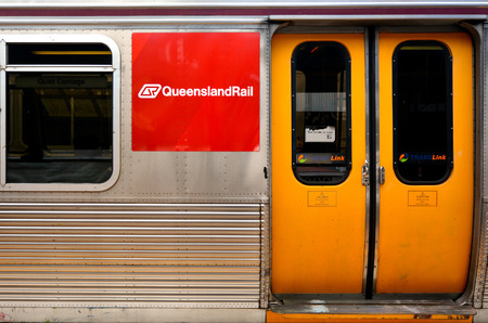 goldcoast: BRISBANE, AUS - SEP 23 2014:Queensland Rail train door.Queensland Rail have 48.5 million customer journeys on the City network (south-east Queensland) per year