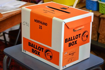 głosowało: MANGONUI, NZL -SEP 20 2014:Ballot Box of NZ 2014 General Election.The Electoral Commission said 717,579 people voted in advance of election day, more than double then Election in 2011.