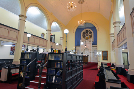 BRISBANE, AUS - SEP 24 2014:Brisbane Synagogue interior. Brisbane Synagogue founded in 1886 and is the oldest in the state of Queensland, Australia.The synagogue has always operated primarily in English. Editorial