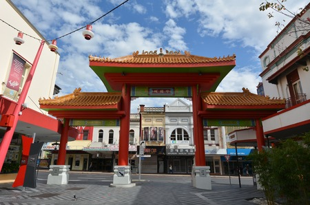 fortitude: BRISBANE, AUS - SEP 25 2014:The main gate of Chinatown Brisbane, Queensland Australia.Chinatown in Brisbanes Fortitude Valley is a popular location for food, markets and entertainment.