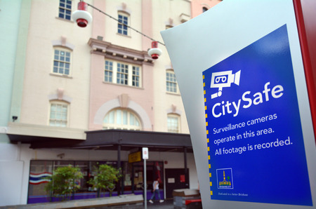 closed circuit: BRISBANE, AUS - SEP 25 2014:CitySafe sign in Brisbane.City Safe Closed Circuit Television cameras are monitored 24 hours a day and help to deter crime or terror activity in public spaces in Brisbane.