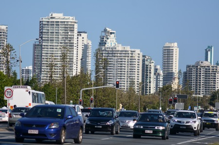 surfers paradise: SURFERS PARADISE - SEP 30 2014:Heavy traffic in Surfers Paradise.It one of Australias iconic coastal tourist destinations, drawing about 10 million tourists every year from all over the world.