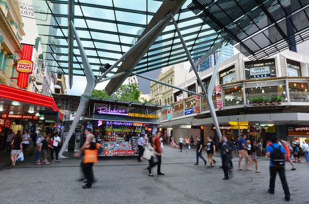 BRISBANE, AUS - SEP 25 2014:Visitors at Queen Street Mall.It is a pedestrian mall with more than 700 retailers with six major shopping centres. It receives over 26 million visitors each year