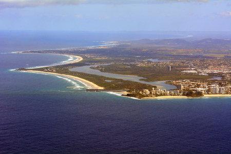 coolangatta: COOLANGATTA, AUS - SEP 23 2014: Aerial view of Coolangatta. Coolangatta was one of the earliest settlements on the Gold Coast in Queensland Australia. Editorial
