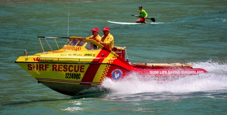 GOLD COAST - NOV 09 2014:Australian Lifeguards in Gold Coast Australia.Australian Lifeguards are world-renown for their high levels of skill and knowledge in accident prevention and rescue response