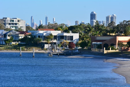 riverside county: GOLD COAST - OCT 14 2014:Paradise Point in Gold Coast Queensland Australia. Paradise Point is a fairly upmarket suburb, with many properties worth millions of dollars. Editorial