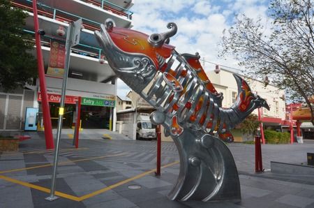 fortitude: BRISBANE, AUS - SEP 25 2014:Metal  gold fish in Chinatown Brisbane, Queensland Australia.Chinatown in Brisbanes Fortitude Valley is a popular location for food, markets and entertainment.