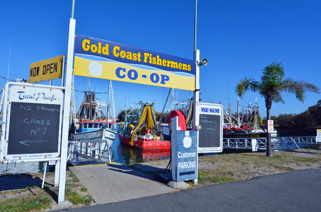 fishingboat: GOLD COAST, AUS - OCT 13 2014:Gold Coast Fishermens Co-Operative.Since 2008 the Gold Coast fishermen selling their catch direct to the public from the boat at low price.