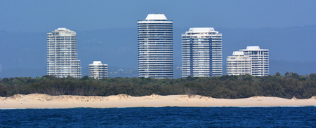 proposed: GOLD COAST-OCT 29 2014:New residential buildings rise above Wave break island. ASF Consortium proposed $7.5 billion world-class Gold Coast Integrated Resort and Cruise Ship Terminal on May 2014. Editorial