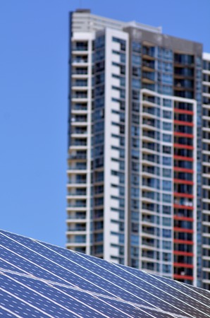 gold coast australia: GOLD COAST- OCT 23 2014:Solar panels in Gold Coast, Australia. Solar power in Australia is a relatively recent phenomenon. Currently, it has over 3.2 GW of installed photovoltaic (PV) power in 2014.