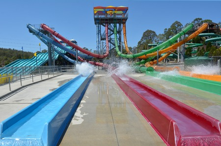 GOLD COAST, AUS - OCT 30 2014: AquaLoop in WetnWild Gold Coast water park. In 2009, the park received 1,095,000 visitors ranking it first in Australia and eighth in the world Editorial