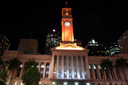 receptions: BRISBANE, AUS - SEP 25 2014:Brisbane City Hall at night.The building used for royal receptions, pageants, orchestral concerts, civic greetings, flower shows, school graduations and political meetings. Editorial