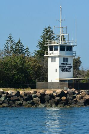 seaway: GOLD COAST-OCT 29 2014:Seaway control tower.Its the main navigation entrance from the Pacific Ocean into the Gold Coast Broadwater and one of Australia's most significant coastal engineering projects