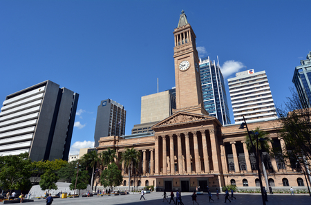 receptions: BRISBANE, AUS - SEP 26 2014:Brisbane City Hall.The building used for royal receptions, pageants, orchestral concerts, civic greetings, flower shows, school graduations and political meetings. Editorial