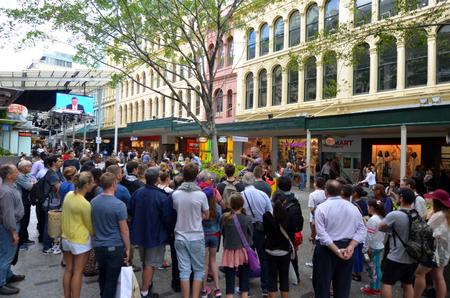 urban centers: BRISBANE, AUS - SEP 24 2014:Street show at Queen Street Mall.It is a pedestrian mall with more than 700 retailers with six major shopping centres. It receives over 26 million visitors each year Editorial