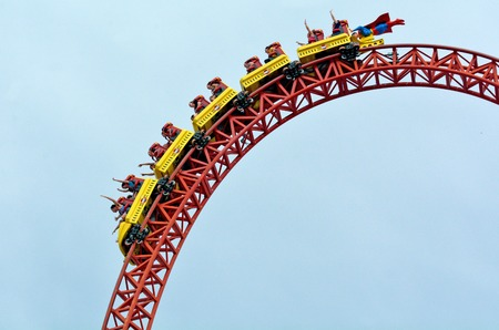 roller: GOLD COAST, AUS -  NOV 06 2014:Visitors ride on Superman Escape in Movie World Gold Coast Queensland Australia.Its an Accelerator Coaster that accelerates from 0 to 100 Km per hour (62 mph) in 2 sec. Editorial