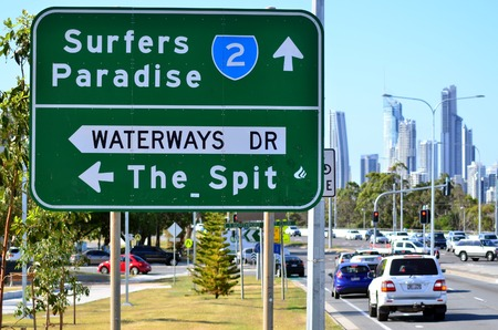 surfers paradise: SURFERS PARADISE - OCT 13 2014:Heavy traffic in Surfers Paradise.It one of Australias iconic coastal tourist destinations, drawing about 10 million tourists every year from all over the world.