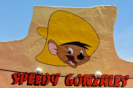 GOLD COAST, AUS -  NOV 06 2014:Speedy Gonzales in Movie World Gold Coast Queensland Australia.Its an animated caricature of the fasts Mouse in all Mexico in the Warner Brothers Looney Tunes cartoons. Editorial