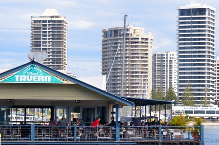 gold coast: GOLD COAST - OCT 16 2014:Fishermans Wharf Tavern.Its iconic an popular bar restaurant in Gold Coast Queensland Australia