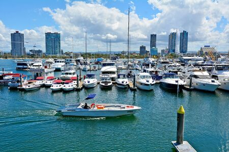 tourist destination: GOLD COAST - OCT 16 2014:Mariners Cove.Its a popular tourist destination for water sports in Gold Coast Queensland Australia