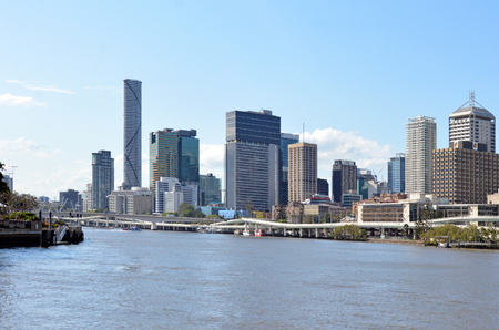occupying: RISBANE, AUS - SEP 24 2014:Brisbane Skyline.Brisbane is the third largest capital city by geographic area in the world, occupying some 1,140km²