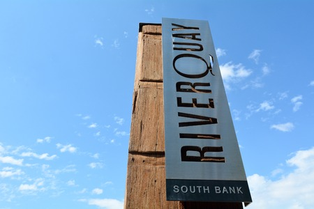 precinct: BRISBANE, AUS - SEP 24 2014:River Quay signpost.It is an exciting new dining precinct in Brisbane South Bank, Queensland Australia. Editorial