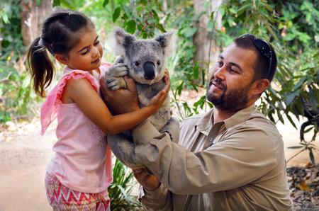 koala: Gold Coast, AUS - Nov 04 2014: Niña (Talya Ben-Ari 05 años) la celebración de un koala con Zookeeper en Currumbin santuario de fauna de Gold Coast de Queensland, Australia.Koalas no puede mantenerse legalmente como mascotas.