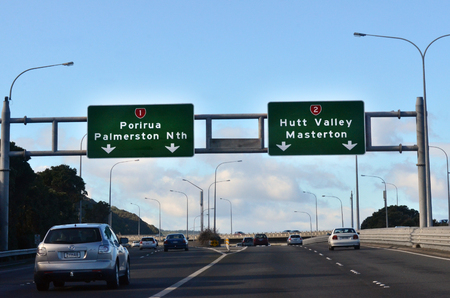 express lane: WELLINGTON - AUG 22 2014:Traffic on Hutt Expressway.it is one of the only two main routes to Wellington and in case of earthquake  the capital could be cut off for months after a large shake. Editorial