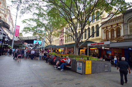 24 26: BRISBANE, AUS - SEP 24 2014:Visitors at Queen Street Mall.It is a pedestrian mall with more than 700 retailers with six major shopping centres. It receives over 26 million visitors each year