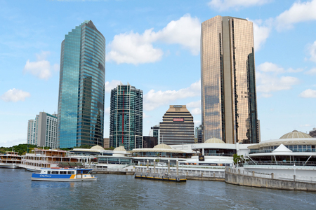 precinct: BRISBANE, AUS - SEP 25 2014:Riverboats mooring at Eagle Street Pier.It is an iconic waterfront precinct with world class dining options and unrivaled views of the Brisbane River.