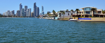 resurgence: GOLD COAST - OCT 23 2014:Laxury houses in macintosh island. Australia central bank keeping a close eye on the property market amid a recent resurgence in home prices.