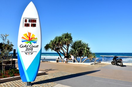 commonwealth: SURFERS PARADISE - SEP 30 2014:The Gold Coast Commonwealth Games countdown clock.In 2018, Queenslands Gold Coast will host the 21st Commonwealth Games.It will be the 5th time Australia host the Games